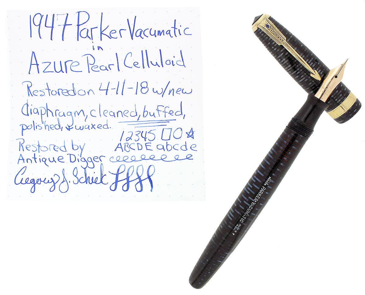 1947 PARKER AZURE PEARL VACUMATIC MAJOR SINGLE JEWEL FOUNTAIN PEN RESTORED OFFERED BY ANTIQUE DIGGER