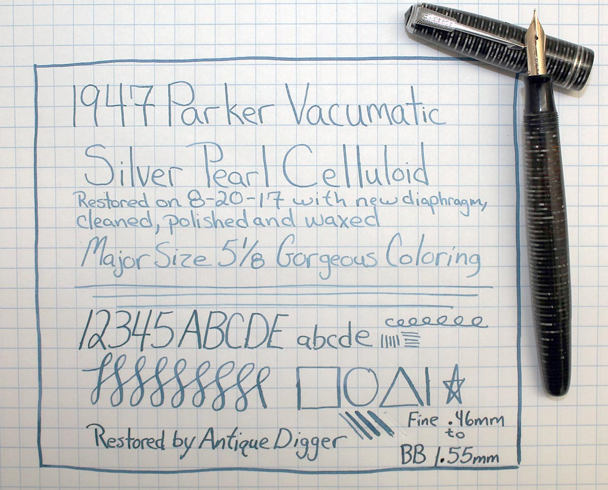 1947 PARKER SILVER PEARL VACUMATIC MAJOR FOUNTAIN PEN F to BB FLEX NIB RESTORED OFFERED BY ANTIQUE DIGGER