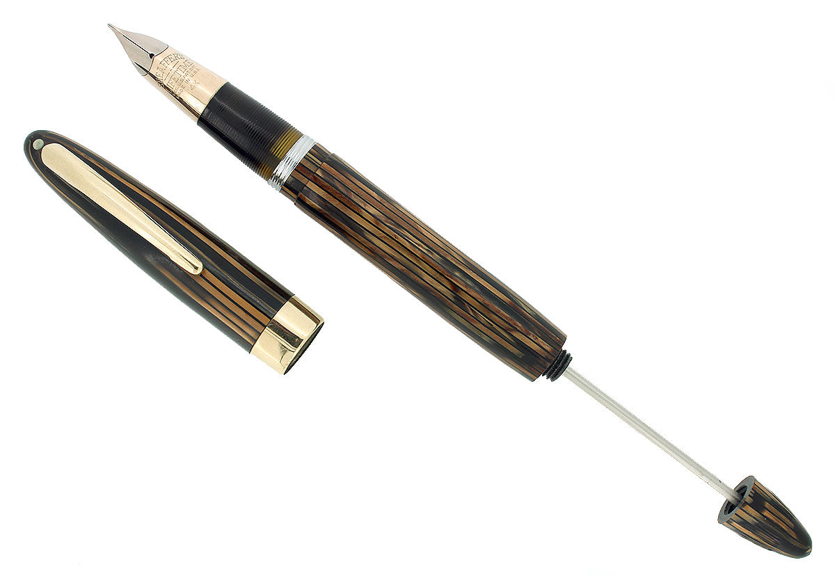 C1947 SHEAFFER TRIUMPH VALIANT GOLDEN BROWN FOUNTAIN PEN PLUNGER FILL RESTORED OFFERED BY ANTIQUE DIGGER