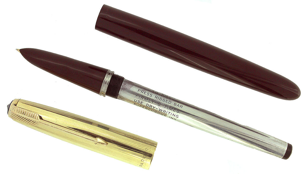 1948 PARKER 51 BURGUNDY AEROMETRIC FOUNTAIN PEN FINE/MEDIUM NIB RESTORED OFFERED BY ANTIQUE DIGGER