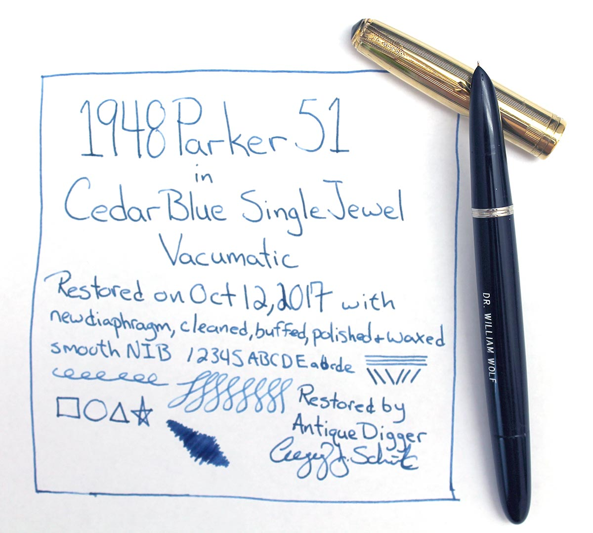 1948 PARKER 51 VACUMATIC CEDAR BLUE GOLD FILLED CAP FOUNTAIN PEN RESTORED