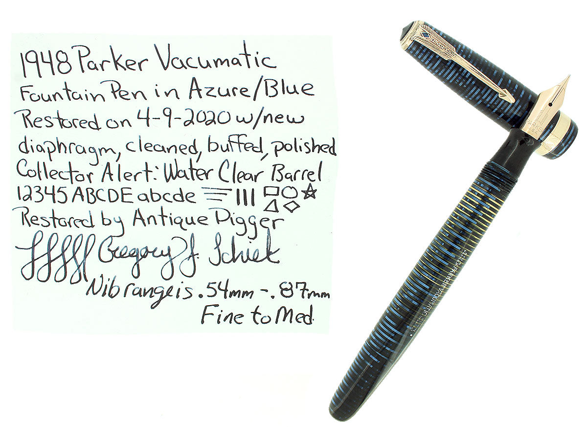 1948 PARKER VACUMATIC AZURE BLUE PEARL MAJOR FOUNTAIN PEN RESTORED OFFERED BY ANTIQUE DIGGER
