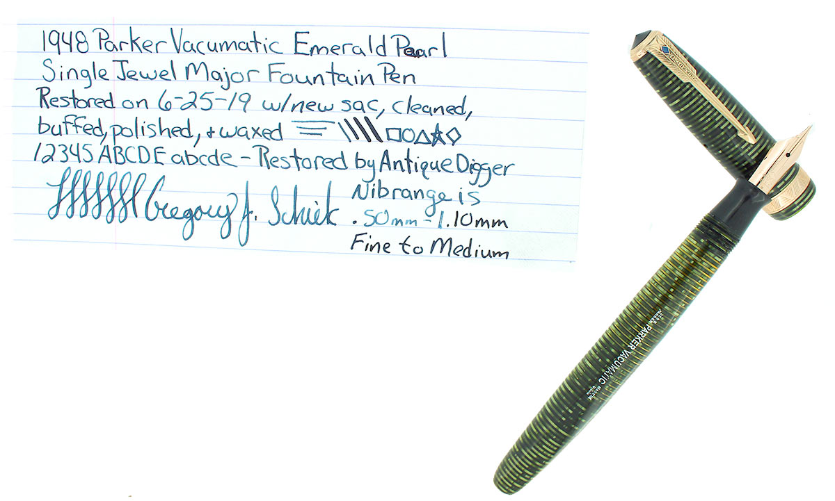 1948 PARKER EMERALD PEARL VACUMATIC FOUNTAIN PEN MAJOR SIZE F-B FLEX NIB RESTORED OFFERED BY ANTIQUE DIGGER