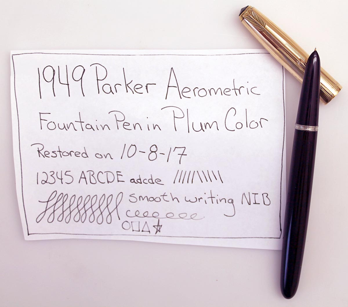 RESTORED 1949 PARKER 51 DEMI AEROMETRIC PLUM W/ GOLD FILLED CAP FOUNTAIN PEN OFFERED BY ANTIQUE DIGGER