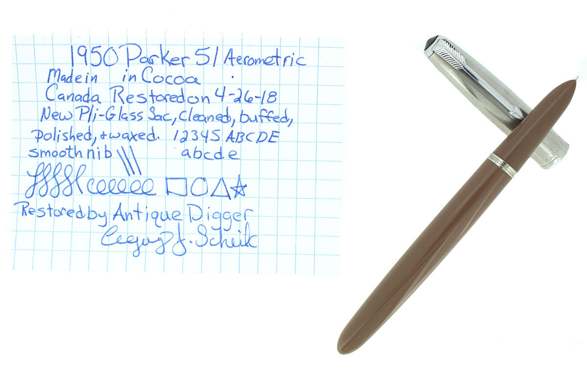 1950 PARKER 51 COCOA AEROMETRIC FOUNTAIN PEN MEDIUM NIB RESTORED OFFERED BY ANTIQUE DIGGER