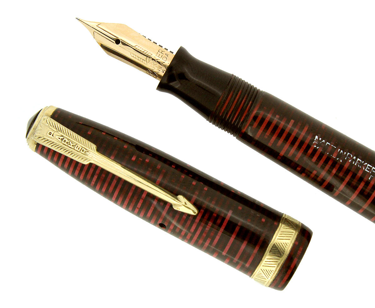1952 PARKER BURGUNDY PEARL VACUMATIC MAJOR FOUNTAIN PEN XF-BB FLEX NIB RESTORED OFFERED BY ANTIQUE DIGGER