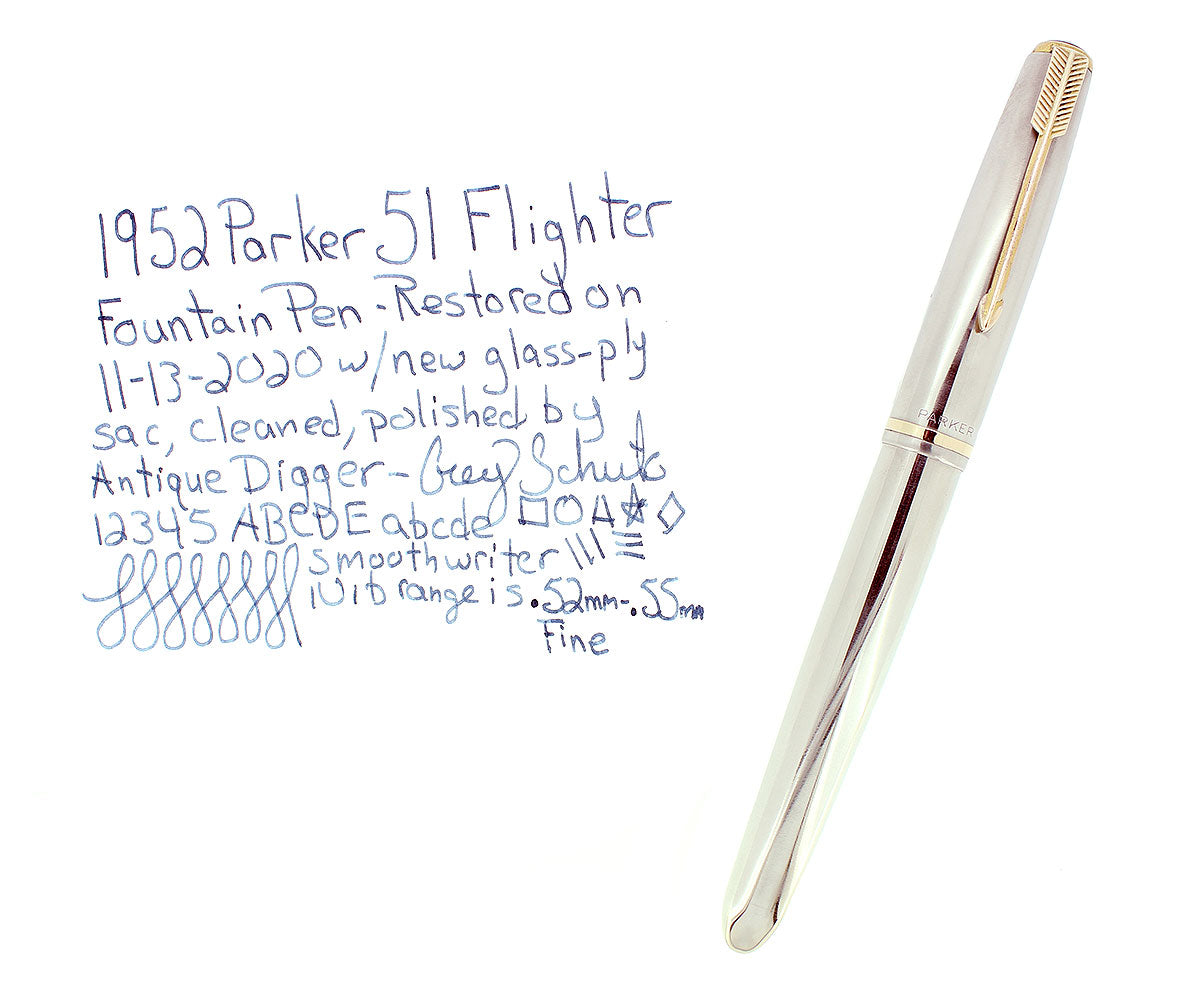 1952 PARKER 51 FLIGHTER AEROMETRIC FOUNTAIN PEN STAINLESS STEEL FINE NIB RESTORED OFFERED BY ANTIQUE DIGGER