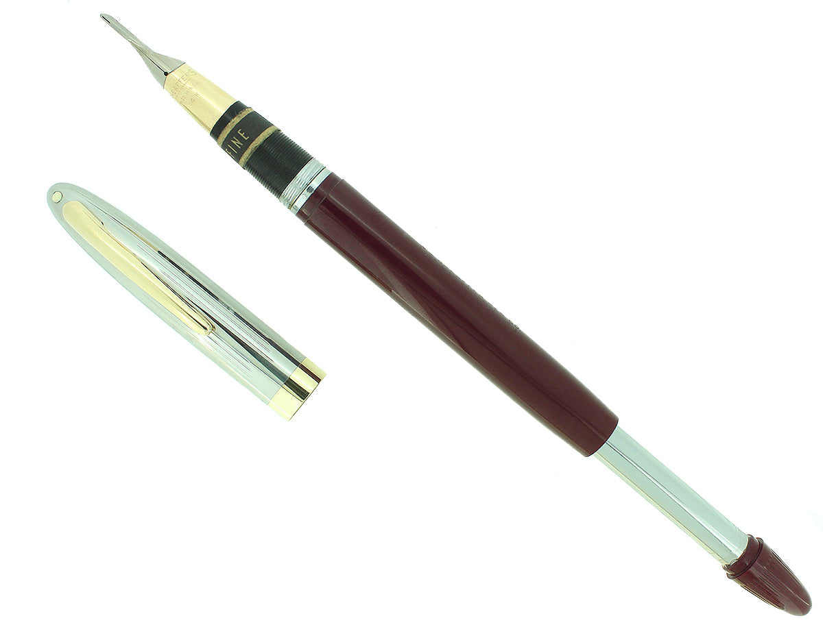 C1952 SHEAFFER SENTINEL BURGUNDY SNORKEL F NIB FOUNTAIN PEN NEW OLD STOCK OFFERED BY ANTIQUE DIGGER