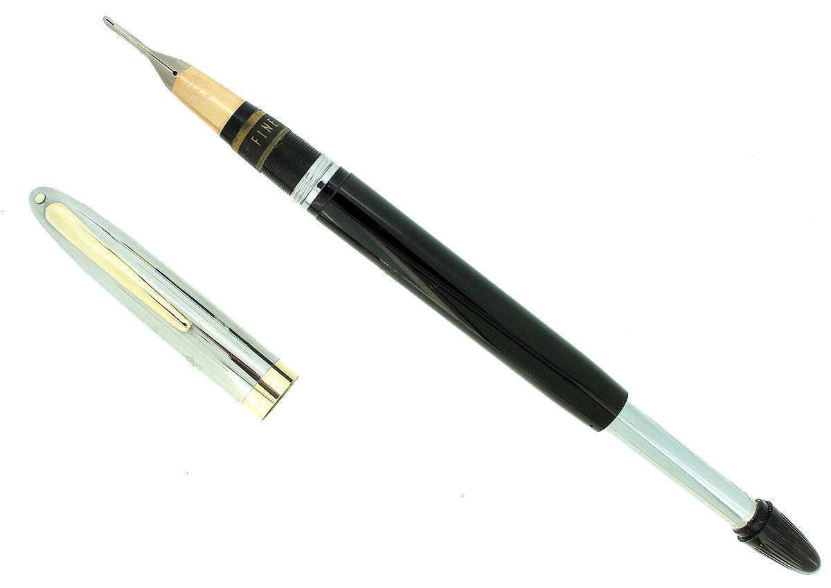 C1952 SHEAFFER SENTINEL JET BLACK SNORKEL FINE NIB FOUNTAIN PEN NEW OLD STOCK OFFERED BY ANTIQUE DIGGER