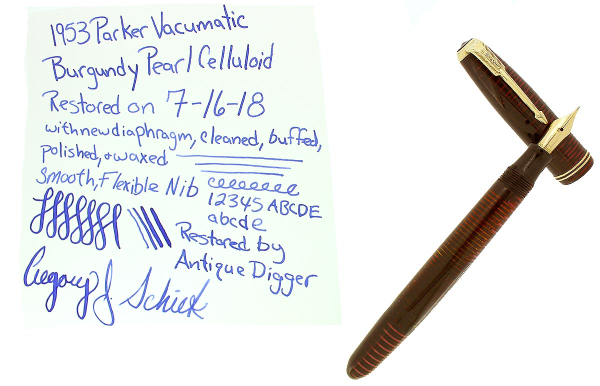 1953 PARKER BURGUNDY PEARL VACUMATIC MAJOR FOUNTAIN PEN F-BB FLEX NIB RESTORED OFFERED BY ANTIQUE DIGGER