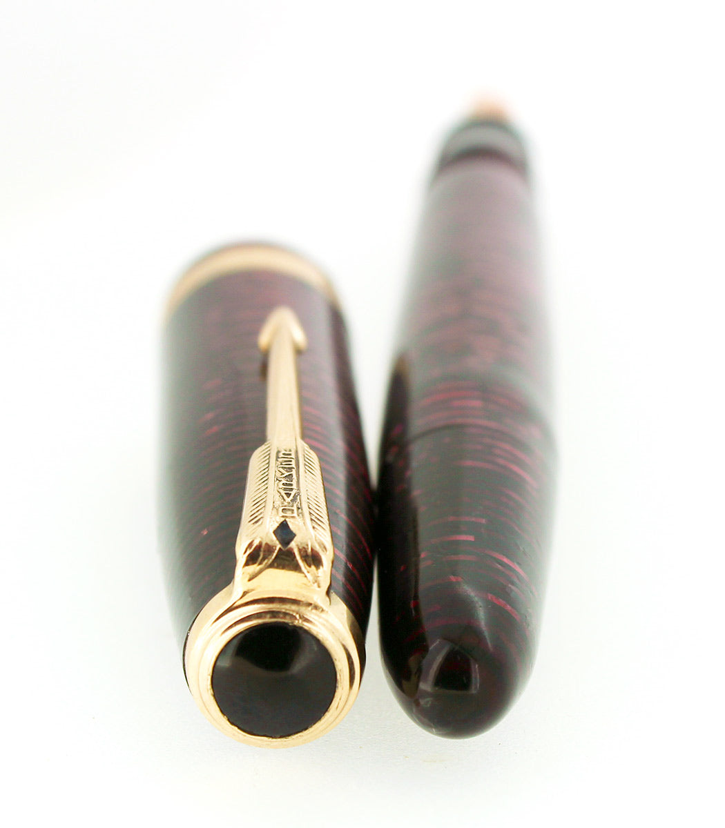 1953 PARKER BURGUNDY PEARL VACUMATIC MADE IN CANADA FOUNTAIN PEN RESTORED OFFERED BY ANTIQUE DIGGER