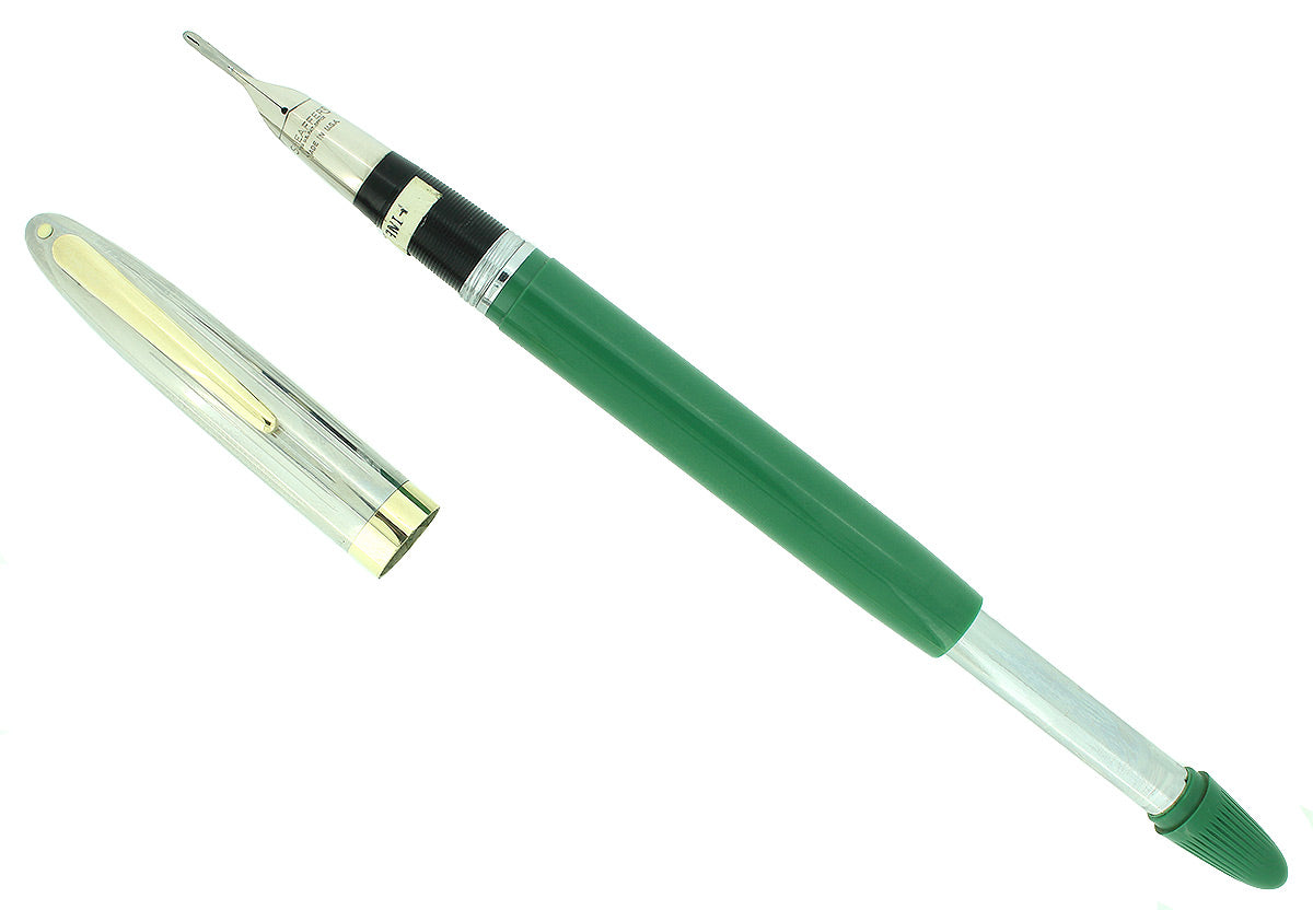 C1952 SHEAFFER CLIPPER PASTEL GREEN SNORKEL F NIB FOUNTAIN PEN NEW OLD STOCK OFFERED BY ANTIQUE DIGGER