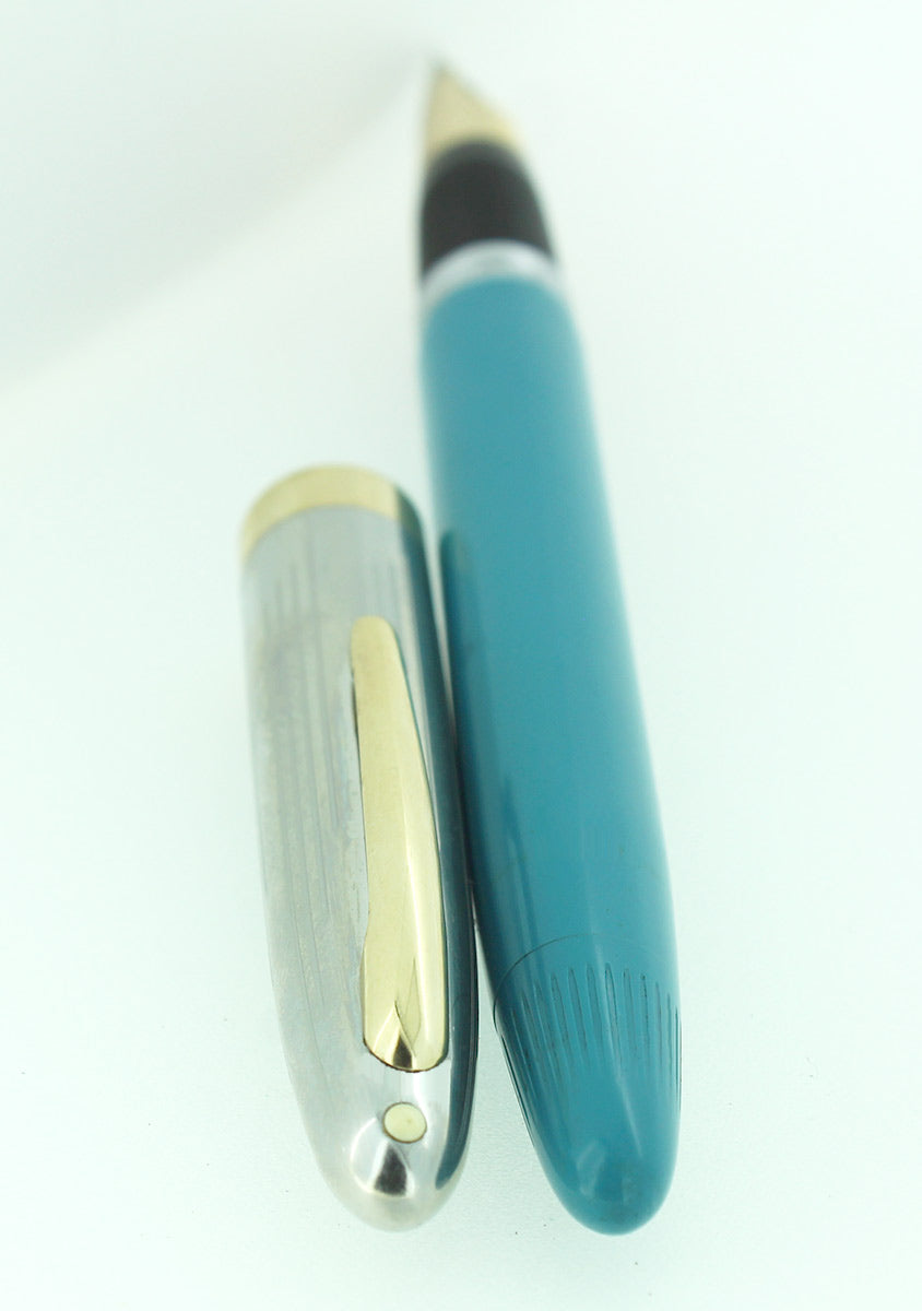 CIRCA 1953 SHEAFFER PEACOCK BLUE SENTINEL SNORKEL FOUNTAIN PEN RESTORED OFFERED BY ANTIQUE DIGGER