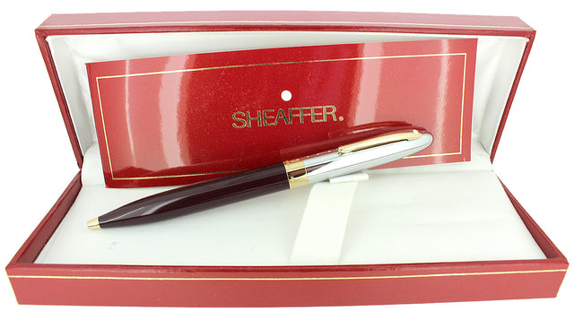 C1992 SHEAFFER CREST CHROME CAP RED LAQUE BARREL BALLPOINT PEN NEW OLD STOCK OFFERED BY ANTIQUE DIGGER