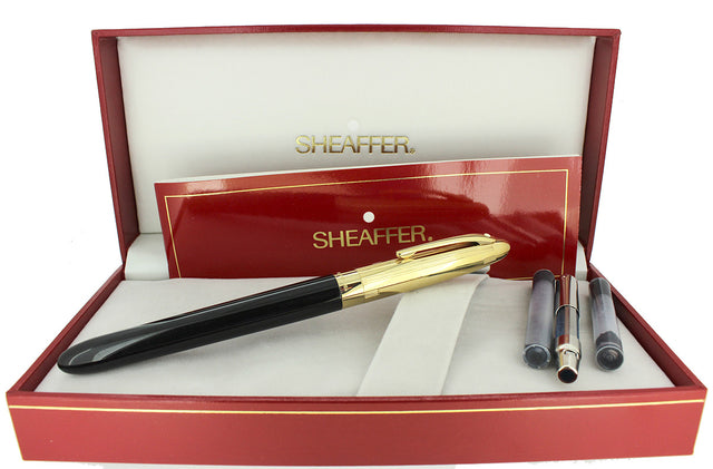 C1992 SHEAFFER CREST GOLD/BLACK LAQUE 18K B NIB FOUNTAIN PEN NEVER INKED OFFERED BY ANTIQUE DIGGER