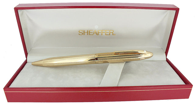 C1992 SHEAFFER CREST 23K GOLD PLATED TWIST ACTIVATED BALLPOINT PEN NEW OLD STOCK OFFERED BY ANTIQUE DIGGER