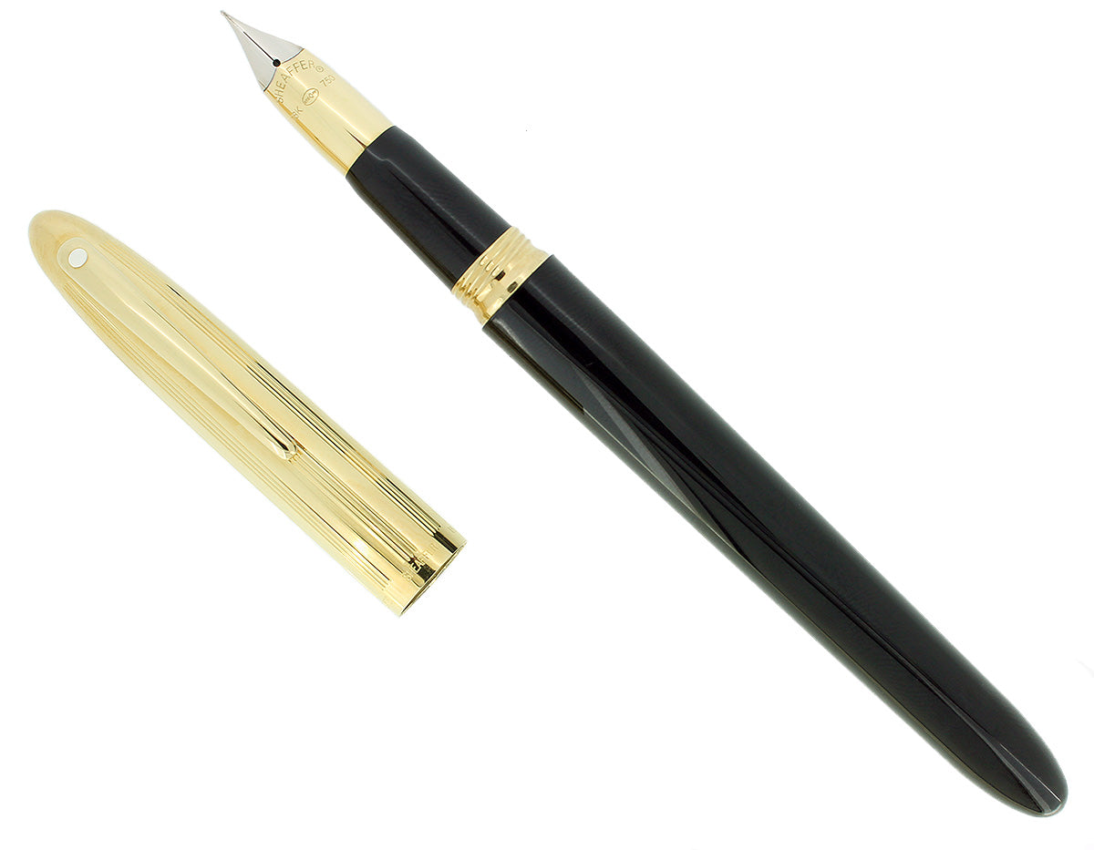 C1992 SHEAFFER CREST GOLD CAP BLACK LAQUE 18K F NIB FOUNTAIN PEN NEVER INKED OFFERED BY ANTIQUE DIGGER