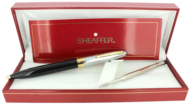 C1993 SHEAFFER CREST CHROME CAP BLACK LAQUE BARREL BALLPOINT PEN NEW OLD STOCK OFFERED BY ANTIQUE DIGGER
