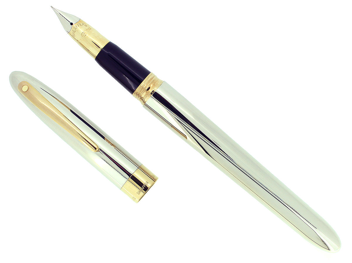 C1993 SHEAFFER CREST PALLADIUM 23K GOLD TRIM 18K F NIB FOUNTAIN PEN NEVER INKED OFFERED BY ANTIQUE DIGGER