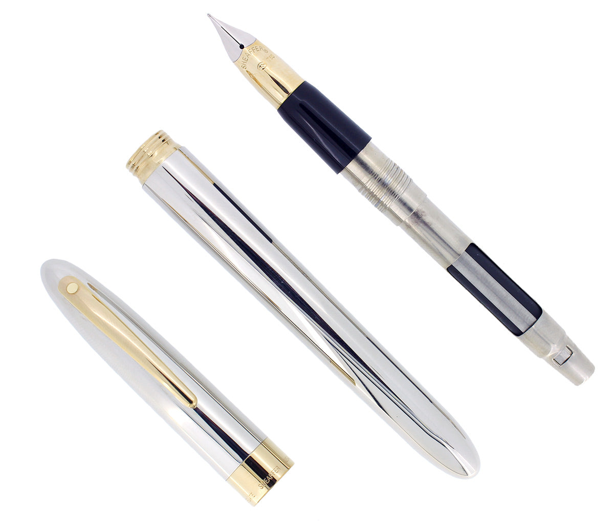 C1993 SHEAFFER CREST PALLADIUM 23K GOLD TRIM 18K M NIB FOUNTAIN PEN NEVER INKED OFFERED BY ANTIQUE DIGGER