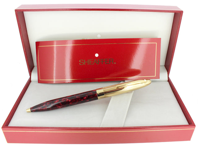 C1994 SHEAFFER CREST RED OPALITE & GOLD CAP TWIST BALLPOINT PEN NEW OLD STOCK OFFERED BY ANTIQUE DIGGER
