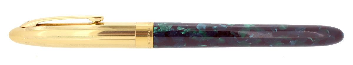 C1996 SHEAFFER CREST OPALITE GREEN GOLD CAP 18K F NIB FOUNTAIN PEN NEVER INKED OFFERED BY ANTIQUE DIGGER