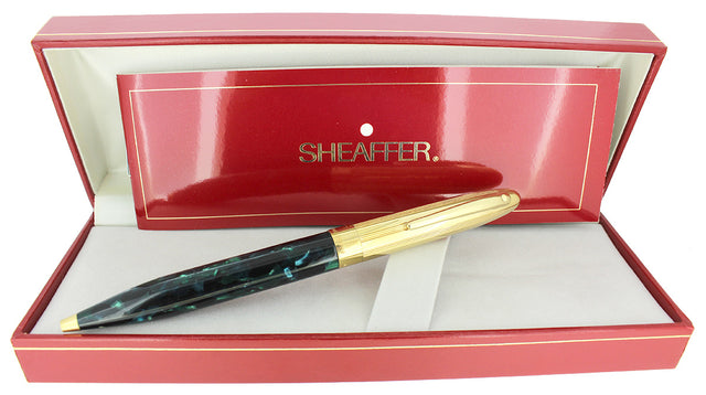 C1994 SHEAFFER CREST GREEN OPALITE & GOLD CAP TWIST BALLPOINT PEN NEW OLD STOCK OFFERED BY ANTIQUE DIGGER