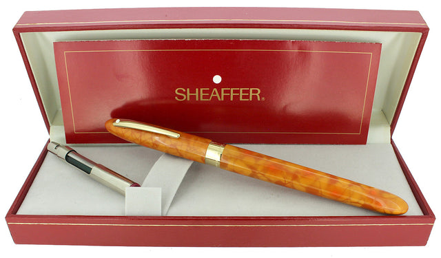 C1996 SHEAFFER CREST CADMIUM YELLOW 18K F NIB FOUNTAIN PEN NEVER INKED OFFERED BY ANTIQUE DIGGER