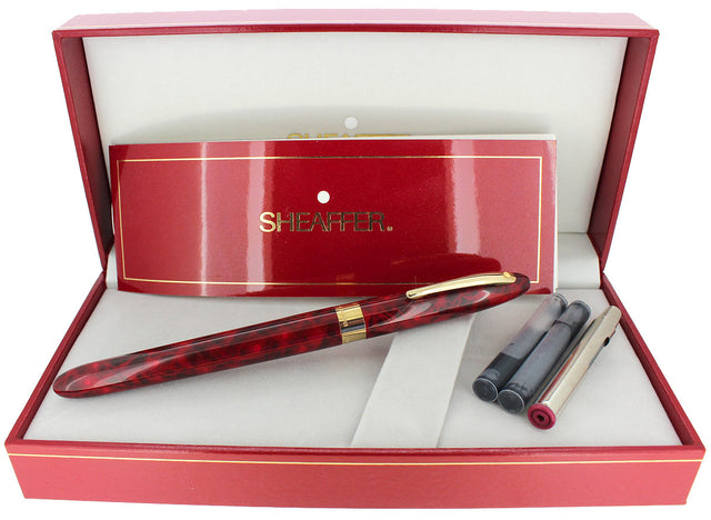C1996 SHEAFFER CREST FLAME RED LAQUE 18K F NIB FOUNTAIN PEN NEVER INKED OFFERED BY ANTIQUE DIGGER
