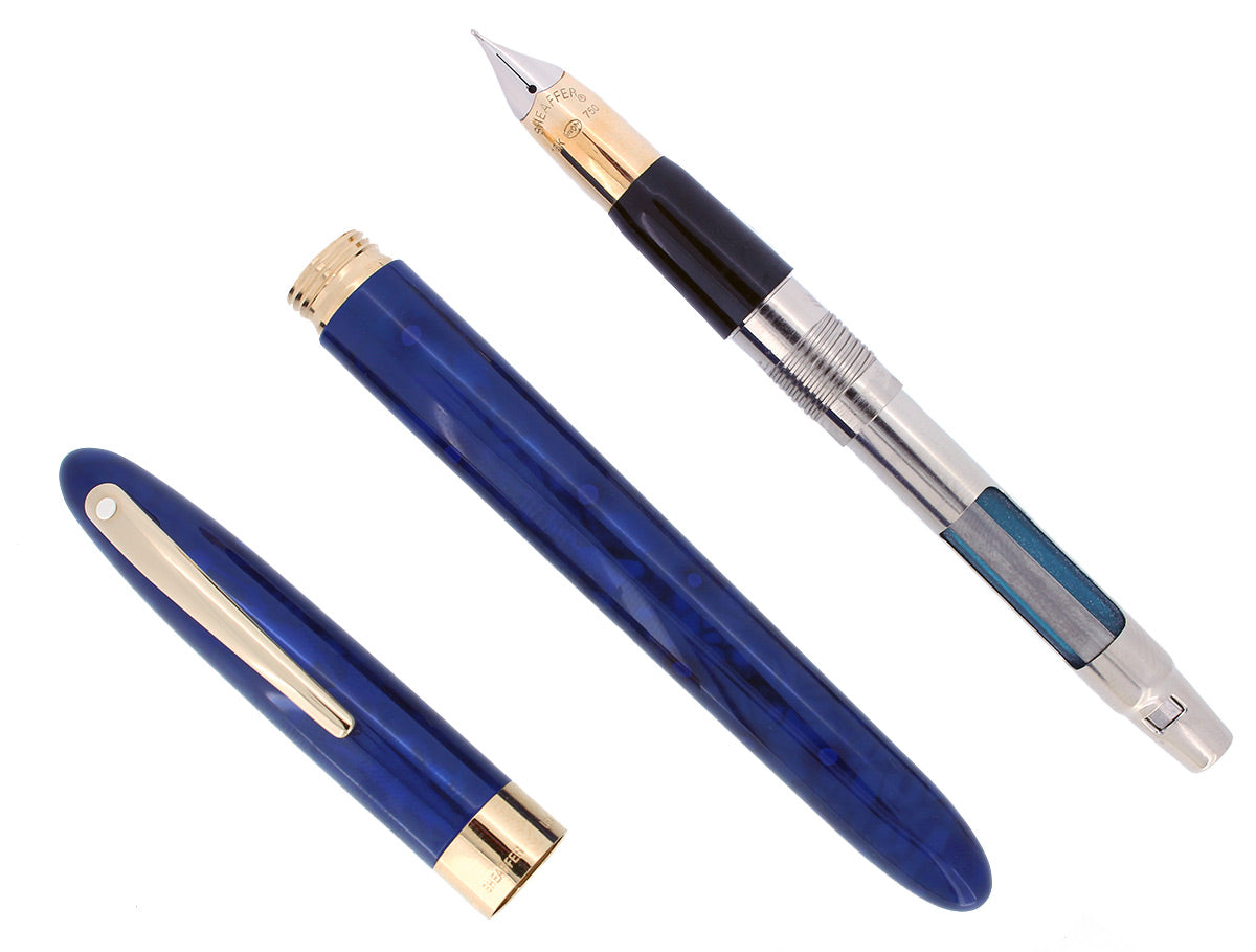 C1996 SHEAFFER CREST ULTRAMARINE BLUE LAQUE 18K F NIB FOUNTAIN PEN NEVER INKED OFFERED BY ANTIQUE DIGGER