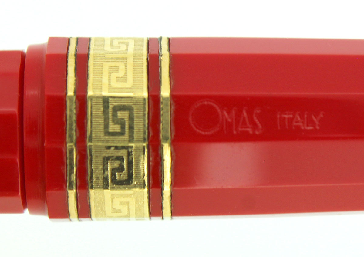CIRCA 1998 OMAS MILORD 12 SIDED FACETED RED FOUNTAIN PEN IN BOX NEAR MINT OFFERED BY ANTIQUE DIGGER
