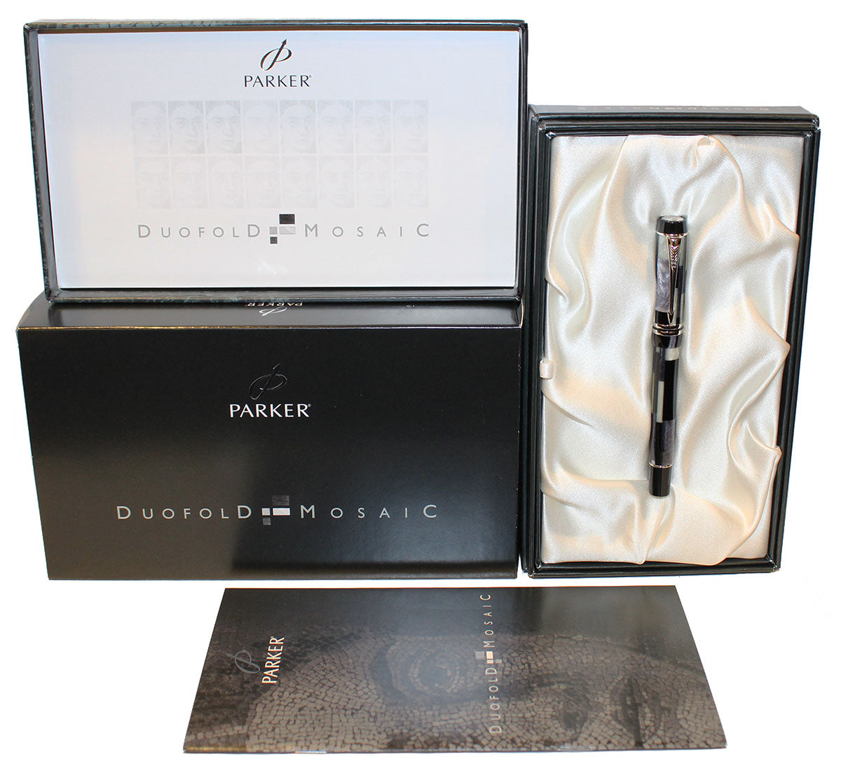 2002 PARKER DUOFOLD INTERNATIONAL BLACK MOSAIC FOUNTAIN PEN 18K NIB NEW IN BOX OFFERED BY ANTIQUE DIGGER