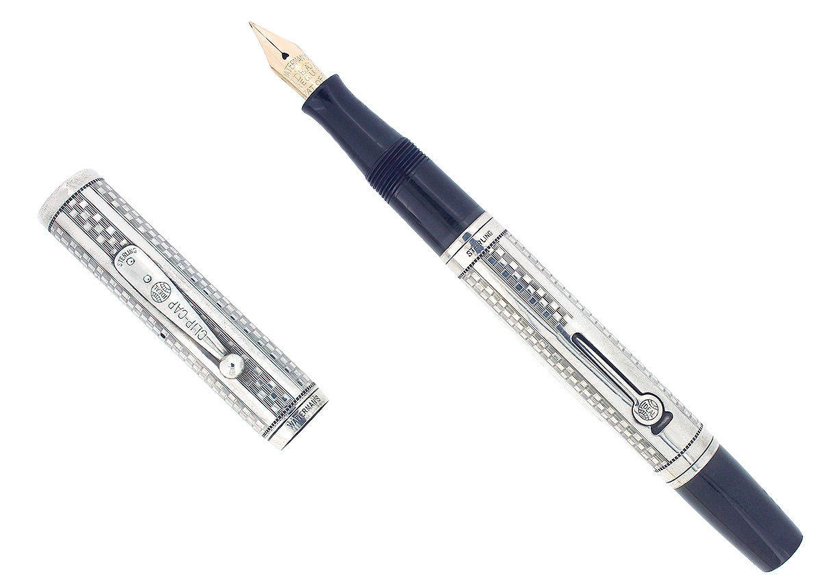 1920S WATERMAN 452 STERLING GOTHIC OVERLAY FOUNTAIN PEN F-BBB FLEX NIB RESTORED OFFERED BY ANTIQUE DIGGER