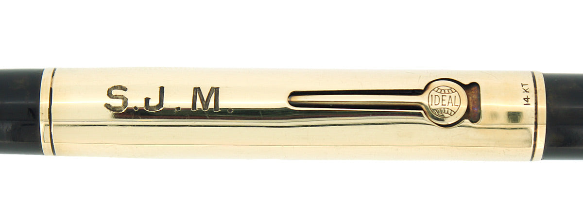 C1917 WATERMAN 552 1/2 SOLID 14K GOLD OVERLAY XF-BBB NIB FOUNTAIN PEN RESTORED OFFERED BY ANTIQUE DIGGER