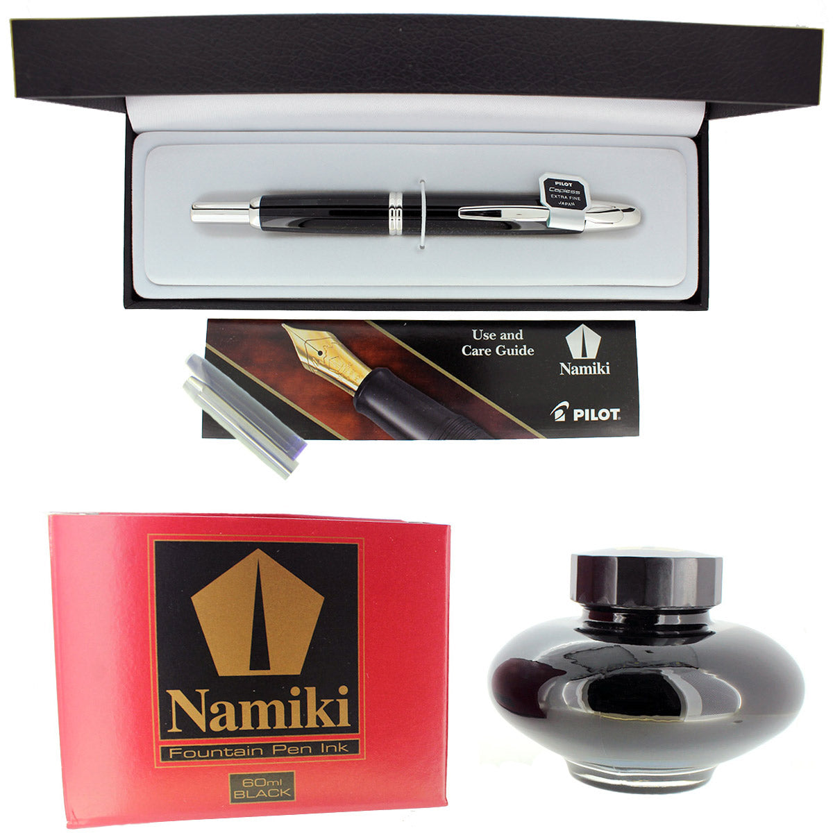 PILOT NAMIKI VANISHING POINT BLACK WITH RHODIUM ACCENTS 18K NIB FOUNTAIN PEN