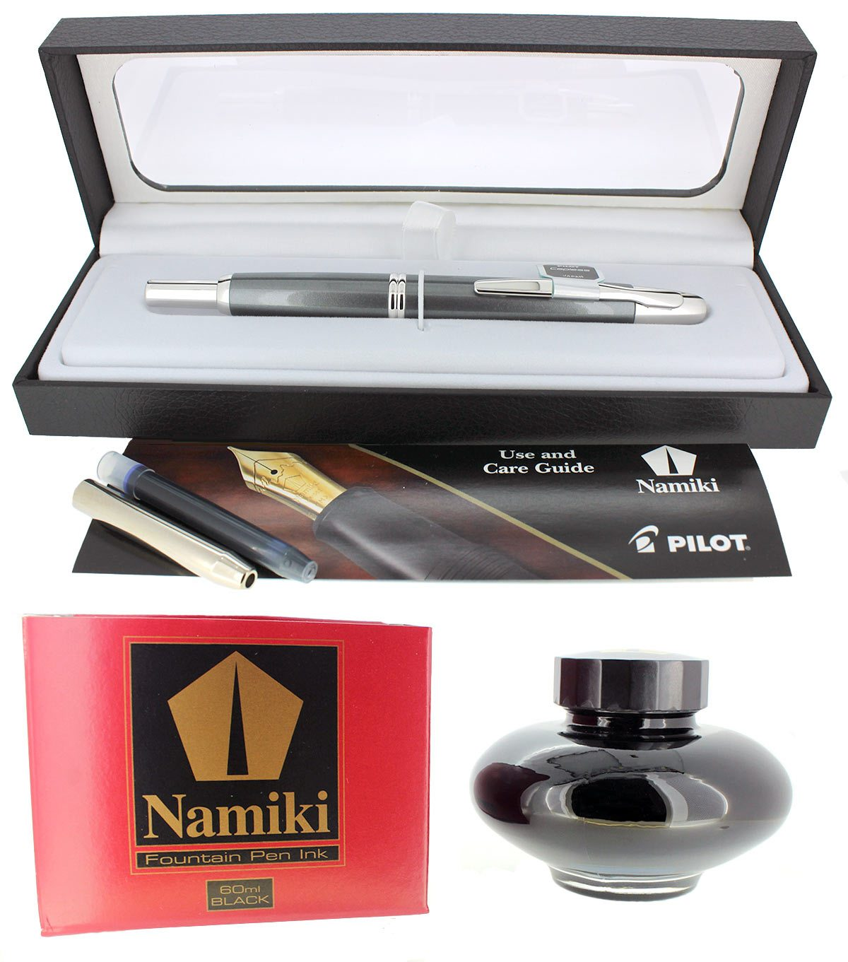 NEW PILOT NAMIKI VANISHING POINT GUN METAL GRAY RHODIUM TRIM 18K NIB FOUNTAIN PEN OFFERED BY ANTIQUE DIGGER