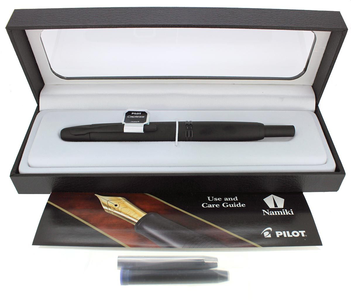 NEW PILOT NAMIKI VANISHING POINT MATTE BLACK WITH BLACK TRIM 18K NIB FOUNTAIN PEN OFFERED BY ANTIQUE DIGGER