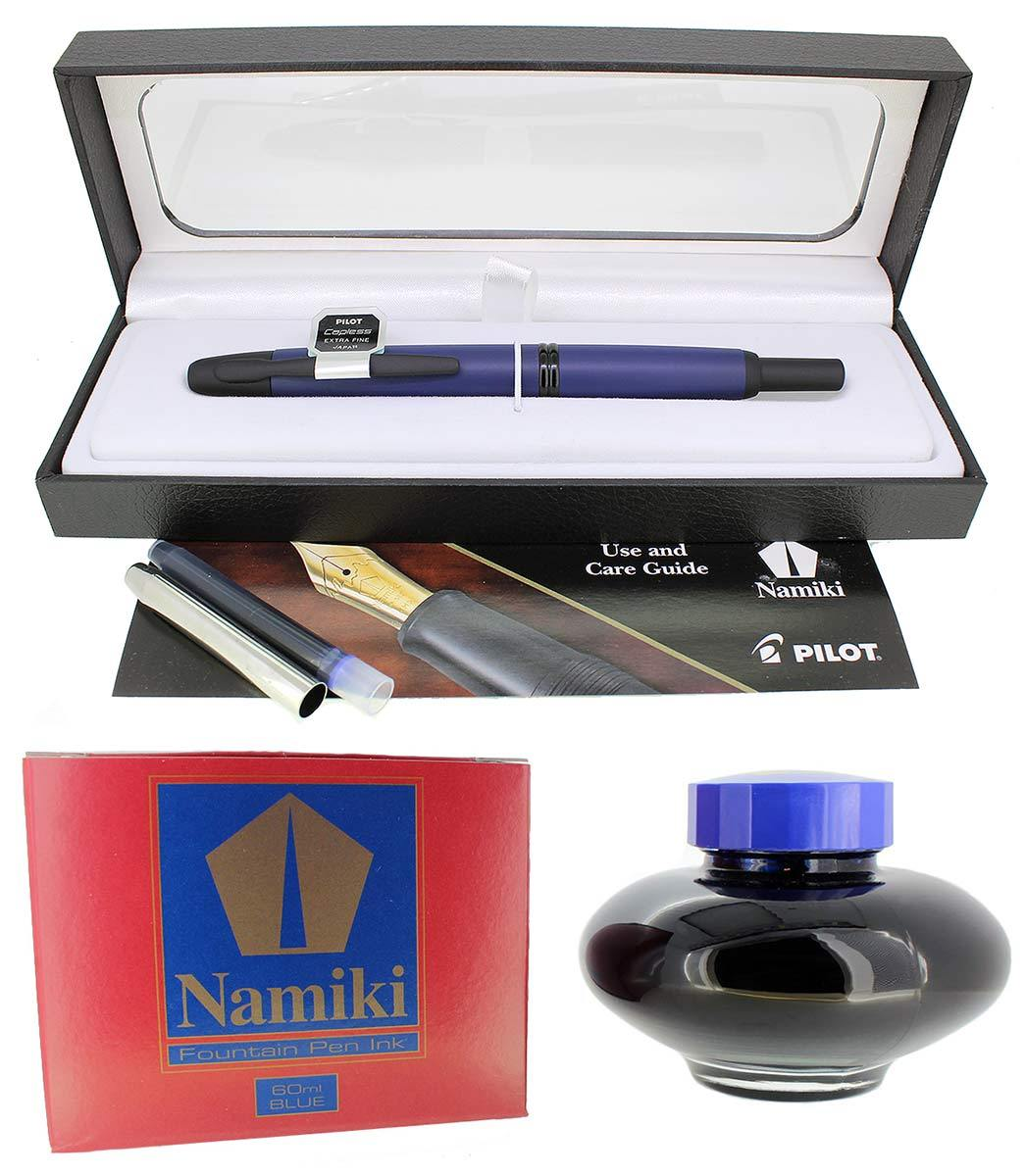 PILOT NAMIKI VANISHING POINT MATTE BLUE WITH BLACK TRIM 18K NIB FOUNTAIN PEN OFFERED BY ANTIQUE DIGGER