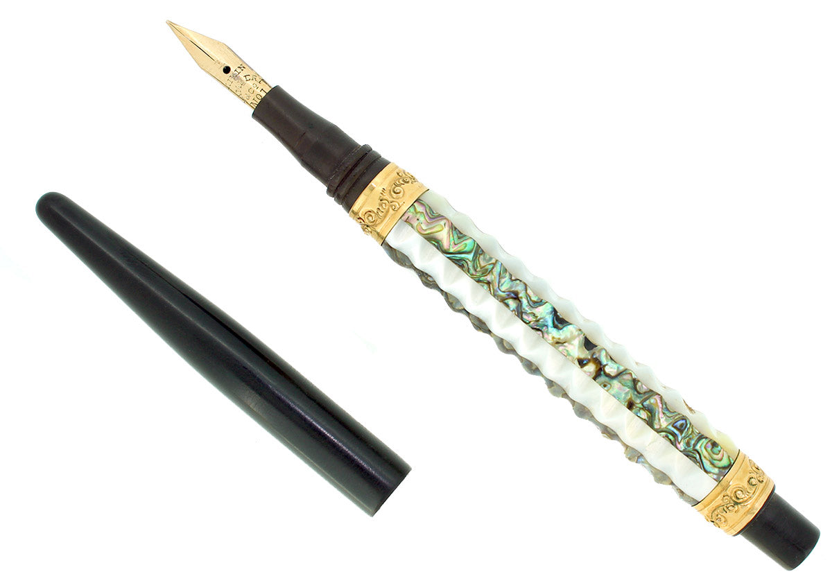 C1900 AIKIN LAMBERT TAPER CAP PEARL ABALONE SLAB FOUNTAIN PEN RESTORED OFFERED BY ANTIQUE DIGGER