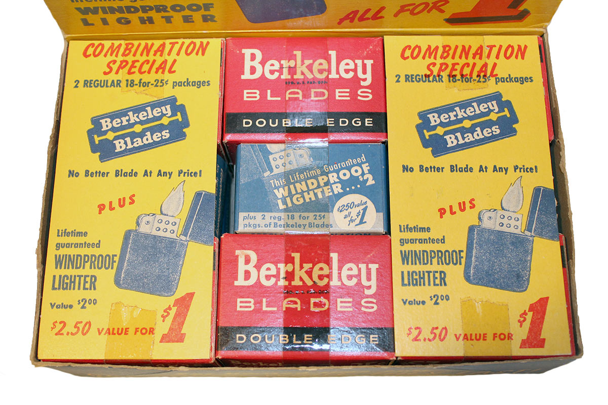 CIRCA 1940s BERKELEY BLADES COUNTER ADVERTISING DISPLAY UNOPENED NEW OLD STOCK OFFERED BY ANTIQUE DIGGER
