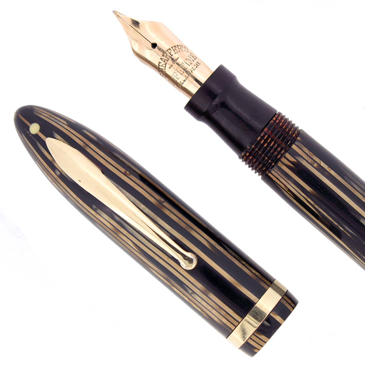 CIRCA 1938 SHEAFFER OVERSIZE GOLDEN BROWN BALANCE FOUNTAIN PEN RESTORED OFFERED BY ANTIQUE DIGGER