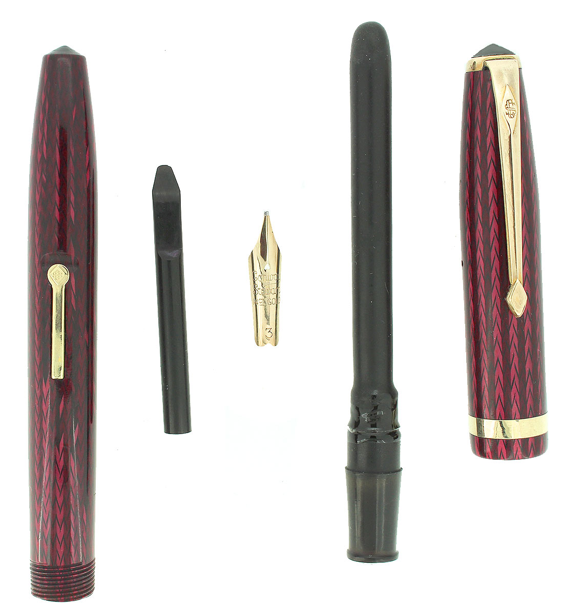 CIRCA 1956 CONWAY STEWART RED HERRINGBONE CELLULOID M - BBB FLEX NIB FOUNTAIN PEN RESTORED OFFERED BY ANTIQUE DIGGER