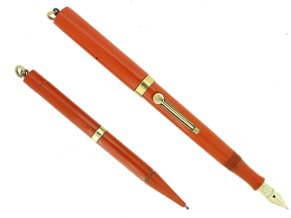 1920S WATERMAN CARDINAL 52 1/2V FOUNTAIN PEN AND PENCIL SET XF-BBB NIB RESTORED OFFERED BY ANTIQUE DIGGER