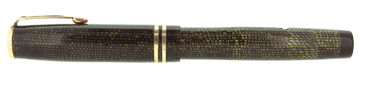 EARLY 1930S CARTER FOUNTAIN PEN OLIVE SNAKESKIN CELLULOID OFF CATALOG RESTORED OFFERED BY ANTIQUE DIGGER