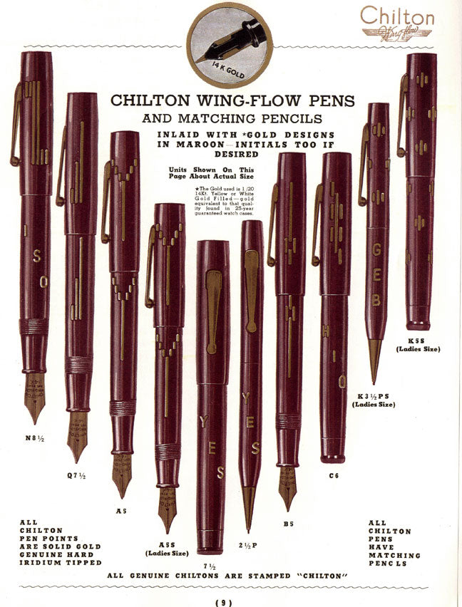 CIRCA 1937 CHILTON MAROON WING-FLOW FOUNTAIN PEN RESTORED INLAID GOLD DESIGN OFFERED BY ANTIQUE DIGGER