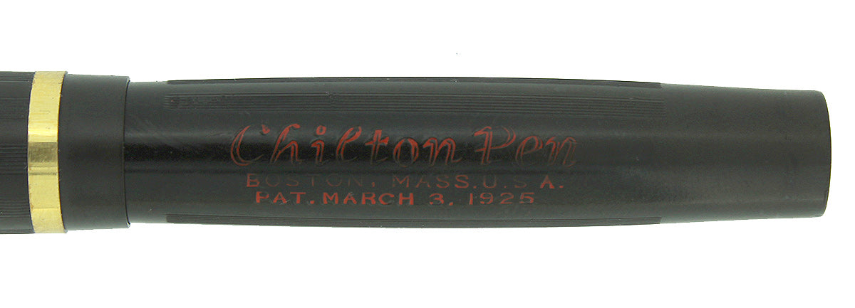 CIRCA 1925 CHILTON BOSTON BLACK HARD RUBBER FOUNTAIN PEN STICKERED MINT CONDITION OFFERED BY ANTIQUE DIGGER