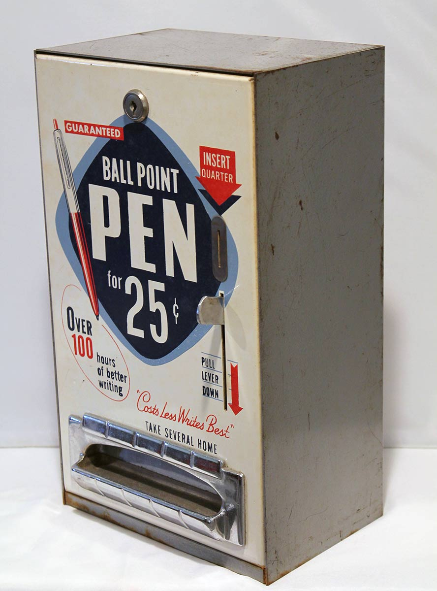 CIRCA 1950s COIN OPERATED BALLPOINT PEN VENDING MACHINE GREAT GRAPHICS WORKING CONDITION OFFERED BY ANTIQUE DIGGER