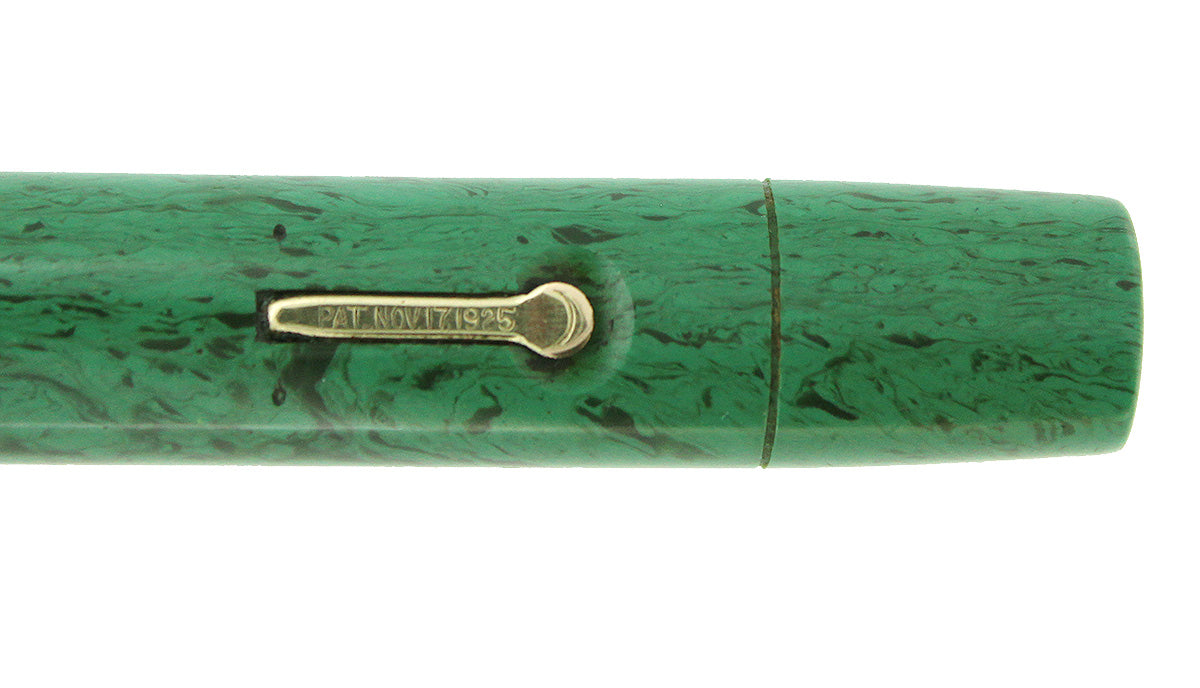 1927 CONKLIN SENIOR ENDURA MEDIUM GREEN HARD RUBBER FOUNTAIN PEN RESTORED OFFERED BY ANTIQUE DIGGER