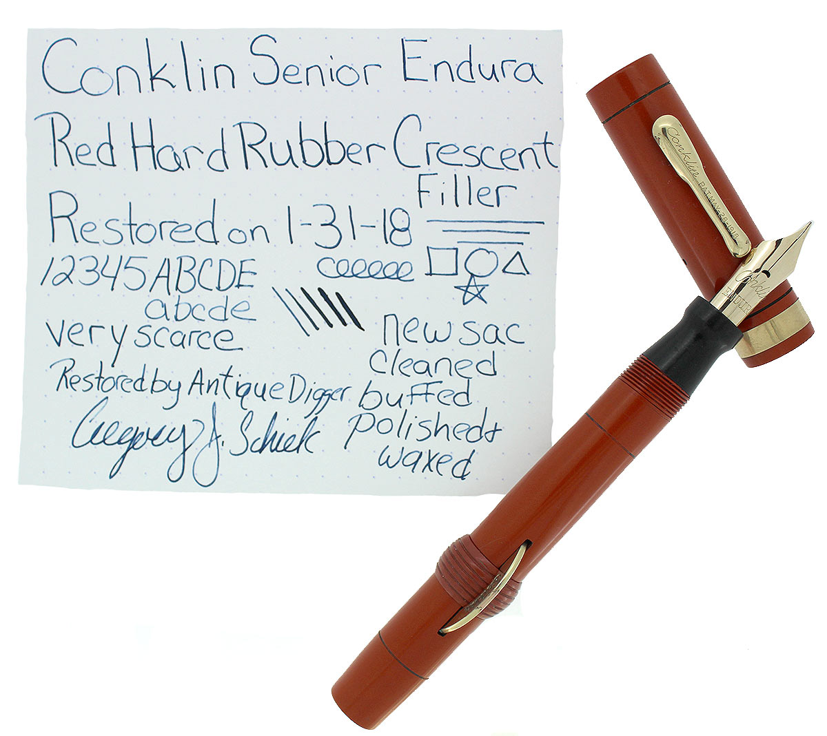 CIRCA 1924 CONKLIN SENIOR ENDURA RED HARD RUBBER CRESCENT FILLER FOUNTAIN PEN OFFERED BY ANTIQUE DIGGER