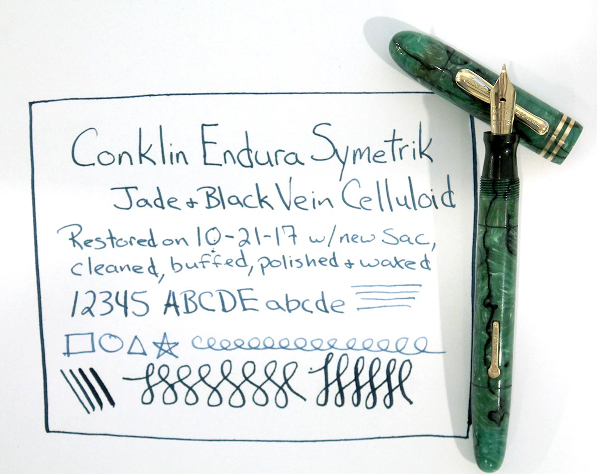 RESTORED CIRCA 1930 CONKLIN ENDURA SYMETRIK JADE & BLACK VEIN FOUNTAIN PEN OFFERED BY ANTIQUE DIGGER